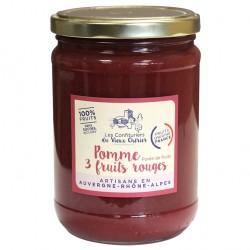 Purée 100% fruit / Compote Pomme 3 fruits rouges artisanales - Vente en ligne - Confitures du Vieux Chérier - Rhône Alpes