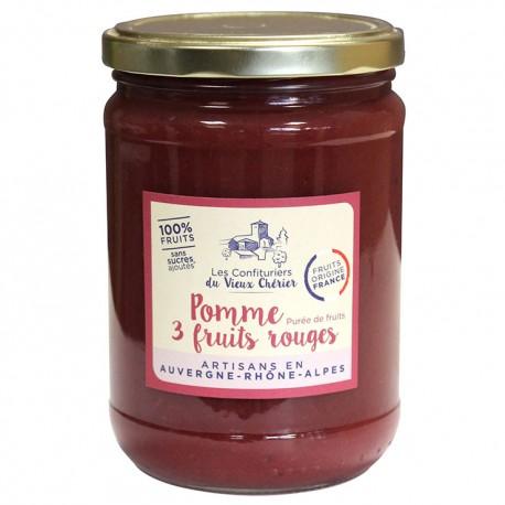 Purée 100% fruits Pomme 3 Fruits Rouges