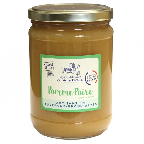 Purée 100% fruit / Compote Pomme Poire artisanales - Vente en ligne - Confitures du Vieux Chérier - Rhône Alpes